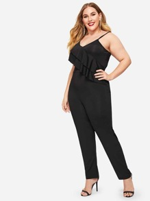 Plus Ruffle Detail Solid Cami Jumpsuit