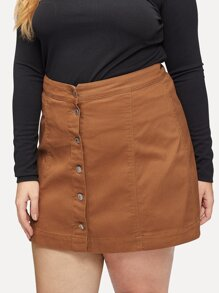 Plus Button Front Solid Denim Skirt