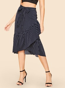 Ruffle Hem Striped Belted Skirt