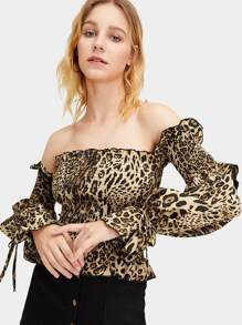 Leopard Print Off The Shoulder Ruffle Trim Blouse