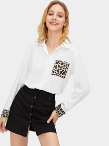Contrast Leopard Pocket Single Breasted Blouse