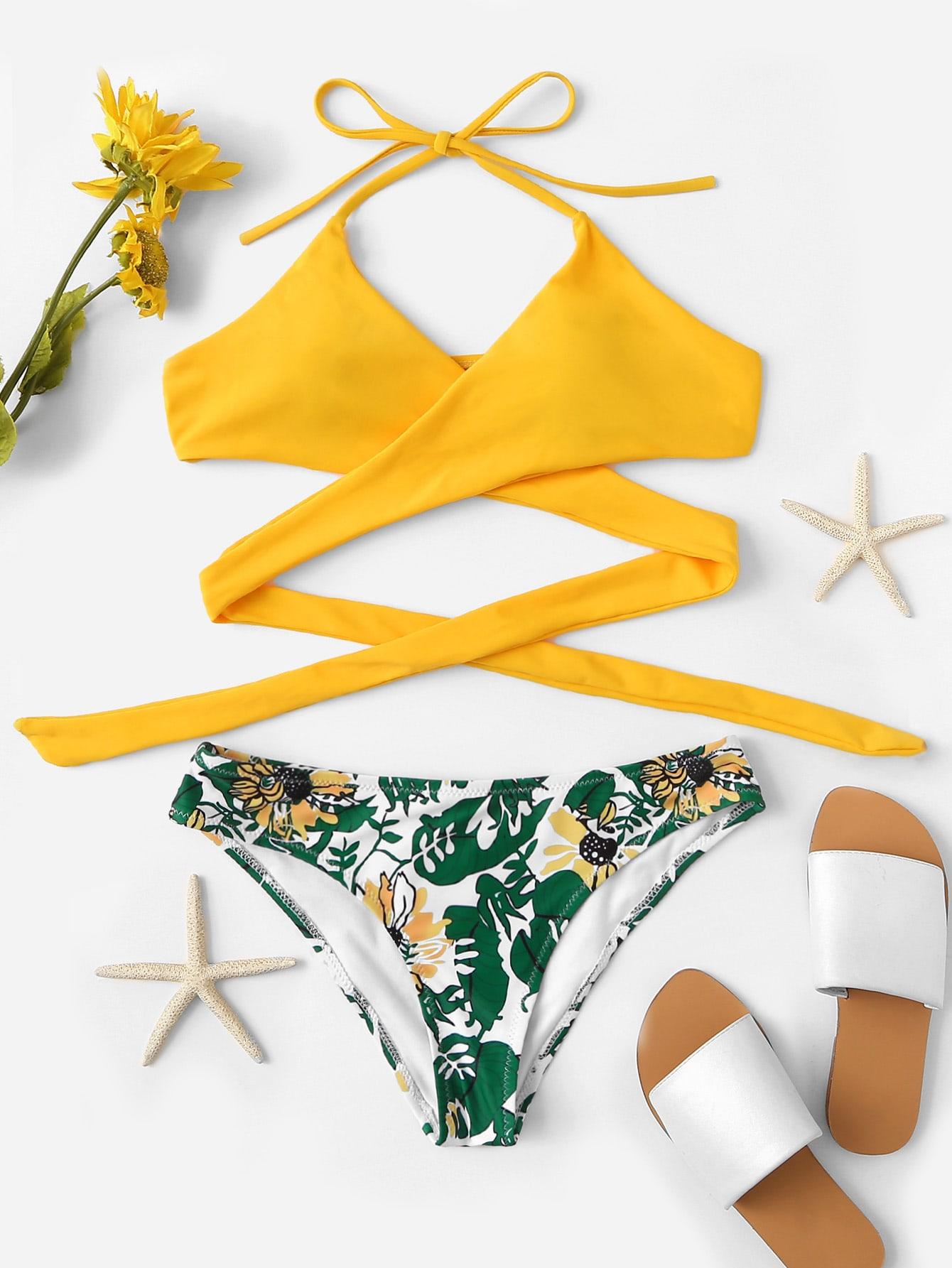Random Crisscross Jungle Leaf Print Bikini Set by Romwe