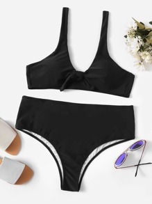 Plus Knot Front Top With High Waist Bikini Set