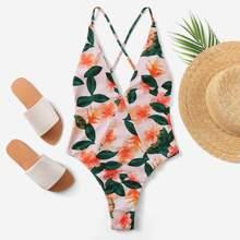 Criss Cross Random Floral One Piece Swimwear