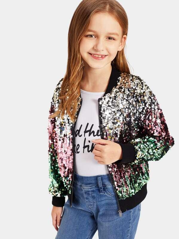 e87e515e1 Girls Zip Up Sequin Bomber Jacket