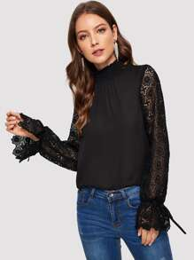 Shirred Neck Lace Sleeve Solid Blouse