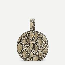 Snakeskin Pattern Round Satchel Bag