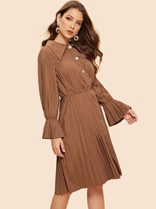 Button Front Pleated Bell Sleeve Dress