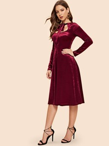 Tie Neck Fit and Flare Velvet Dress