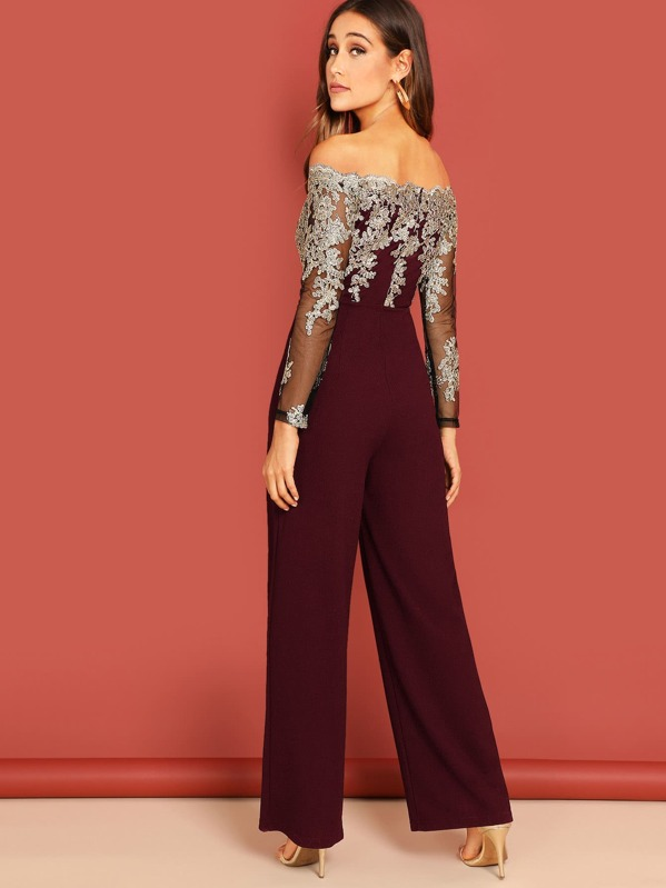 1ff0ee7a69 Off Shoulder Mesh Embroidered Jumpsuit | SHEIN IN