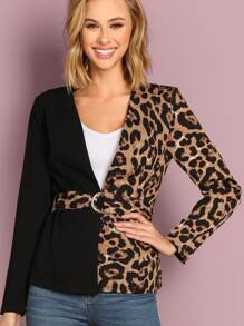 Leopard Panel Colorblock D-ring Belted Coat