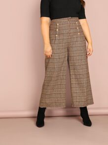 Plus Double Breasted Front Wide Leg Plaid Pants