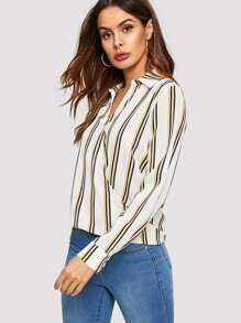 Buttoned Front Surplice Wrap Striped Top