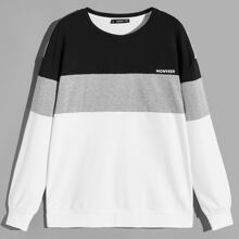 Men Color-block Letter Pullover