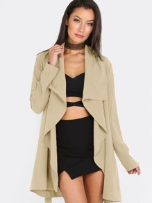 Lapel Tie Long Sleeve Outerwear