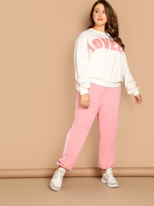 Plus Drop Shoulder Letter Pullover and Pants Set