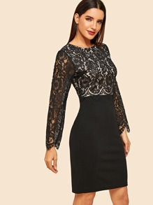 80s Floral Lace Overlay Fitted Dress