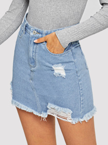 Faded Wash Ripped Raw Hem Denim Skirt