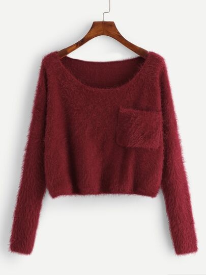 Plus Pocket Patched Solid Fuzzy Sweater