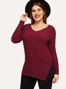 Plus Slit Side Ribbed Knit Jumper