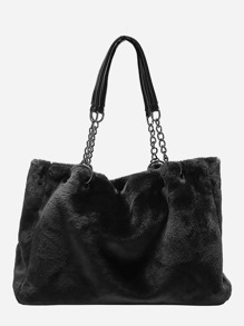 Fuzzy Chain Tote Bag