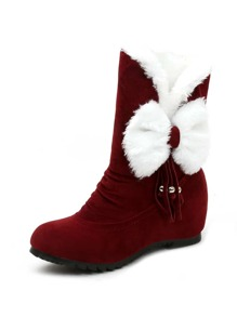 Fluffy Bow Decor Suede Boots