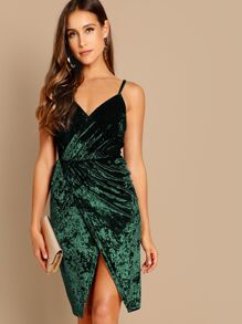 Crushed Velvet Wrap Cami Dress
