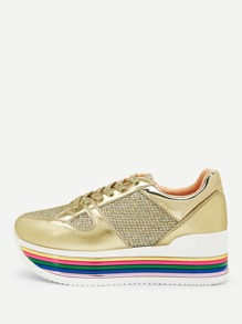 Rainbow Stripe Lace-up Glitter Sneakers
