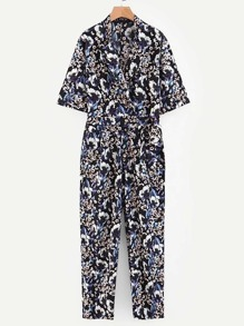 Self Tie Calico Print Jumpsuit