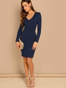 Plunging Neck Slim Fitted Dress