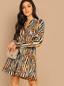 Greek Fret & Chain Print Pleated Shirt Dress