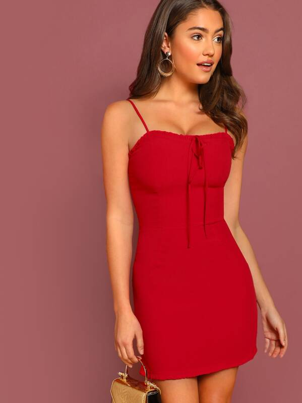 a03ff26404 Ruffle Edges Front Bow Cami Slip Mini Dress | SHEIN