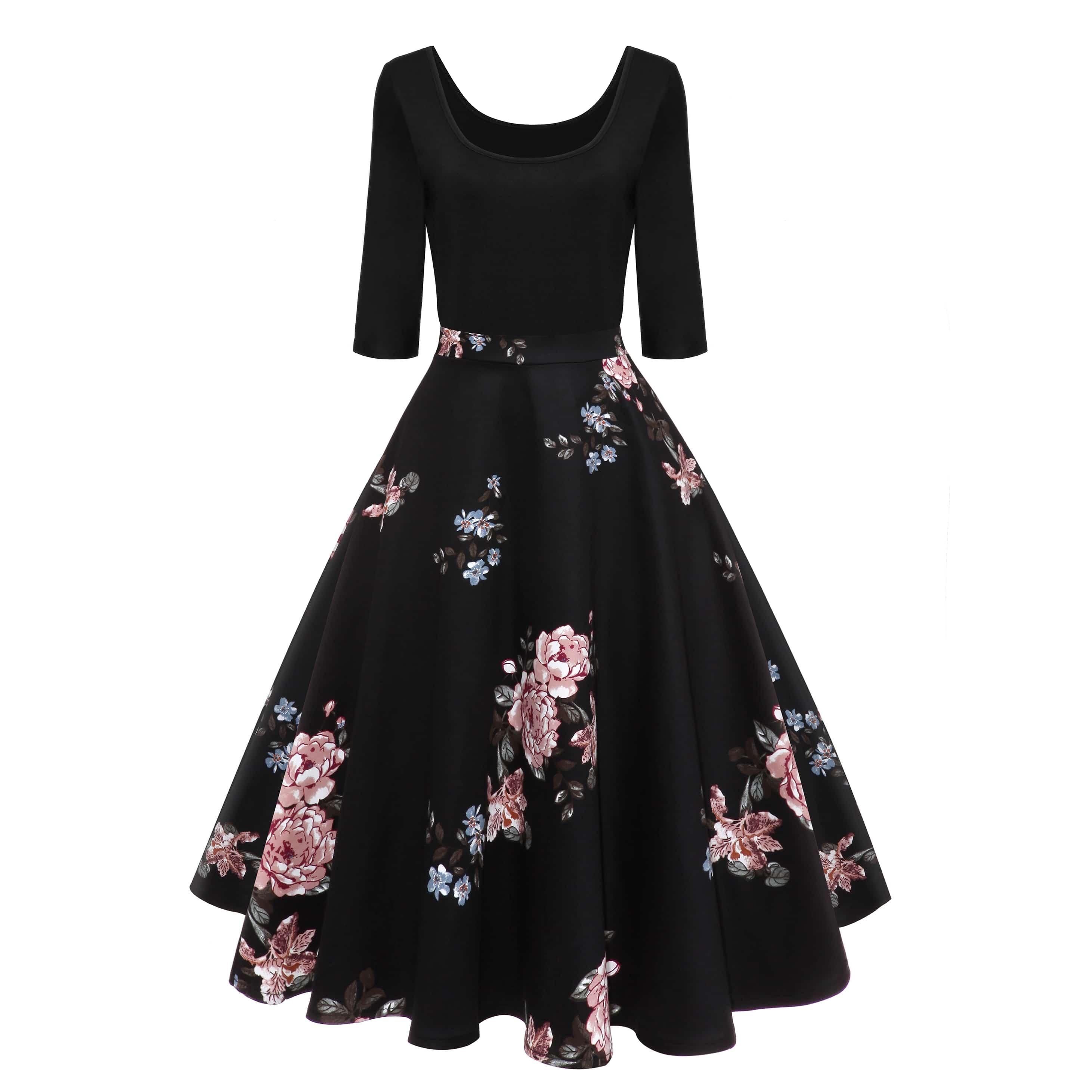 50s платье с цветочным принтом
