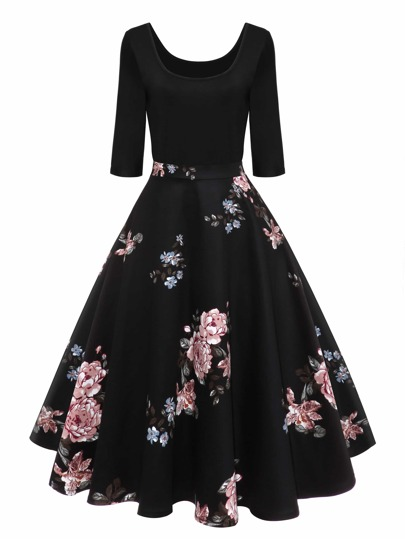 50s Floral Print Flare Combo Dress