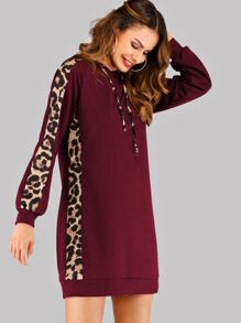 Leopard Tape Hooded Sweatshirt Dress