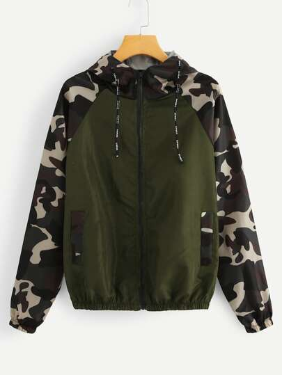 Plus Contrast Camo Sleeve Drawstring Hooded Jacket