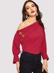 Asymmetrical Neck Button Decoration Blouse