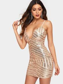 Deep V-neck Cami Sequin Dress