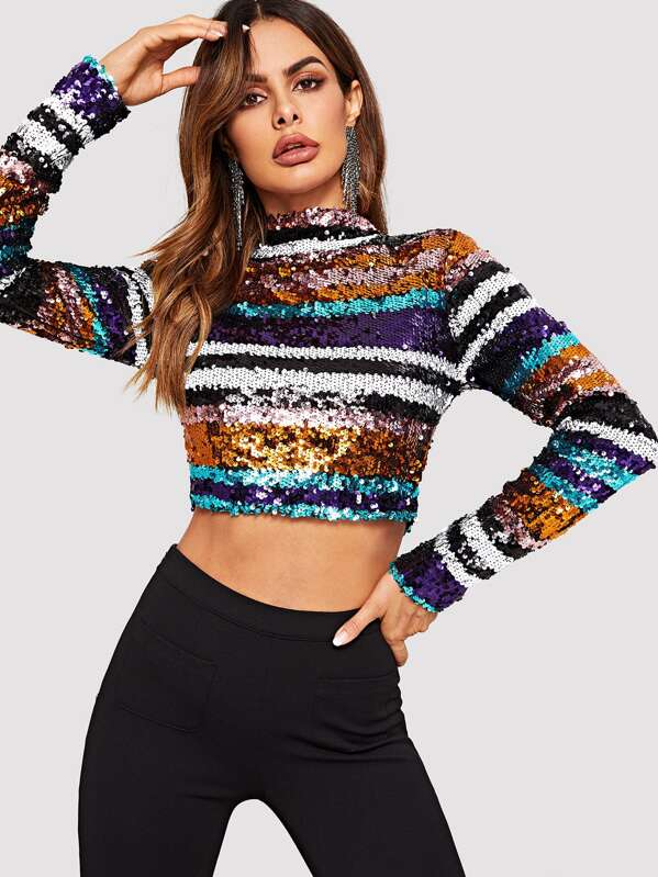 a1b2467df3bd5 Colorful Sequin Crop Tee. AddThis Sharing Buttons