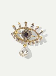 Rhinestone Eye Shaped Brooch