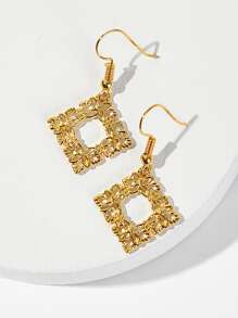 Hollow Square Drop Earrings 1pair