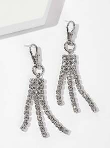 Keychain Design Rhinestone Tassel Drop Earrings 1pair