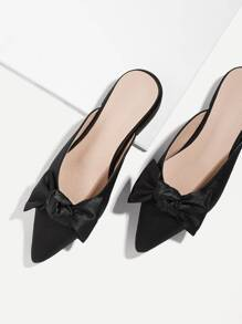 Bow Tie Point Toe Mule Flats