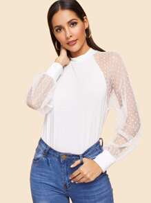 Mock-neck Dot Mesh Raglan Sleeve Top