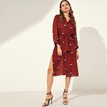 SHEIN | Waist Belted Button Mixed Print Dress | Goxip