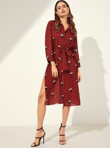 Waist Belted Button Mixed Print Dress