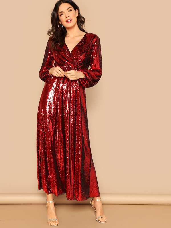 fc2d6da137e Blouson Sleeve Surplice Sequin Maxi Dress