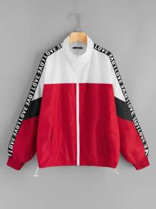 Plus Drawstring Hem Colorblock Lettering Tape Jacket