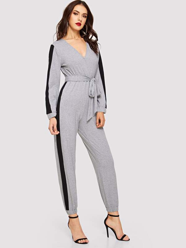 2ad7c41fba1 Surplice Neck Contrast Side Seam Belted Jumpsuit