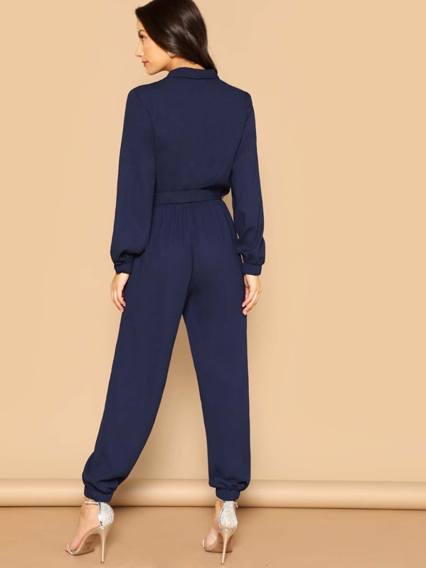 ab1df963b15a Surplice Wrap Plunging Belted Jumpsuit